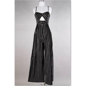 Pants - NWT Velvet Striped Jumpsuit Like Fashion Nova